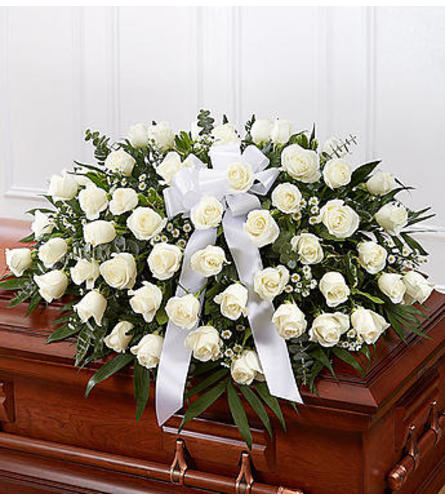 Remembered White  Rose Casket Spray