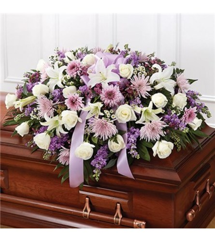 LAVENDER AND WHITE CASKET SPRAY MEMORIES