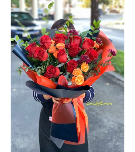 hearts and orange kiss bouquet