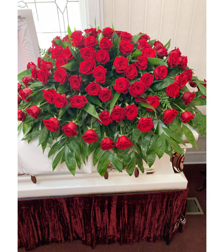 Red All Roses Casket Spray