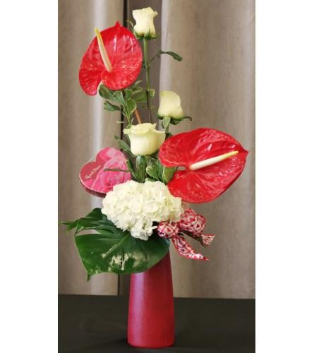Rose and Anthurium Vase