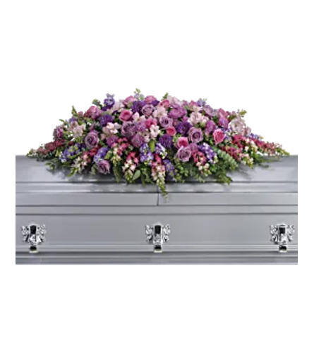 Beautiful Lavender Tribute Casket Spray