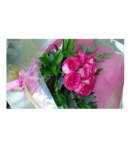 12 long stems of pink roses hand tied