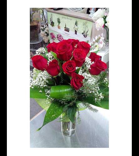 Modern red roses in vase