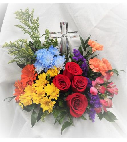 Over the Rainbow Crystal Cross Bouquet