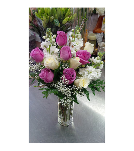 Premium Purple and white Rose bouquet by Vivian