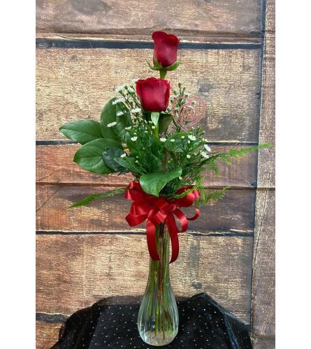 Flowers By Neil Bud Vase 2 Roses