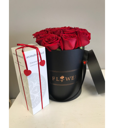 Luxury Red Rose Hat Box with Diffuser