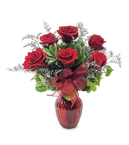 6 Red Roses in Red Vase