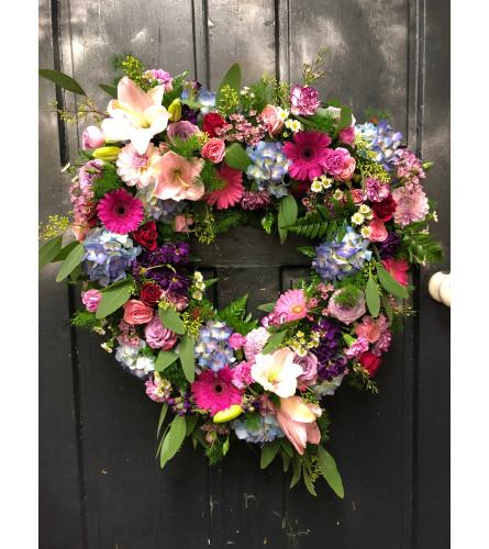 Pretty In Pink Open Heart Wreath