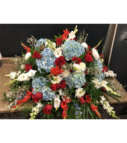Tribute Red, White and Blue Casket Cover