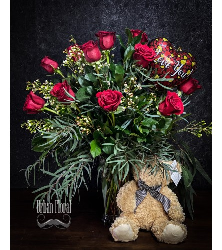 12 premium red roses with a teddy bear and small valentine's ball