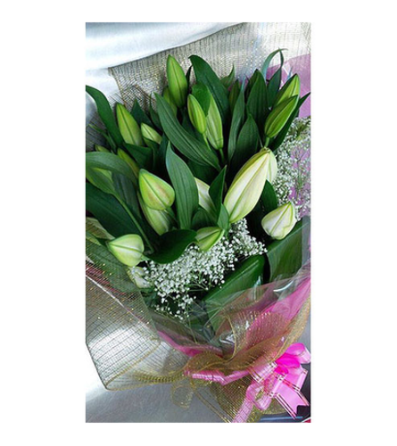 Hand tied bouquet of 10 stems white Lilies by Vivian