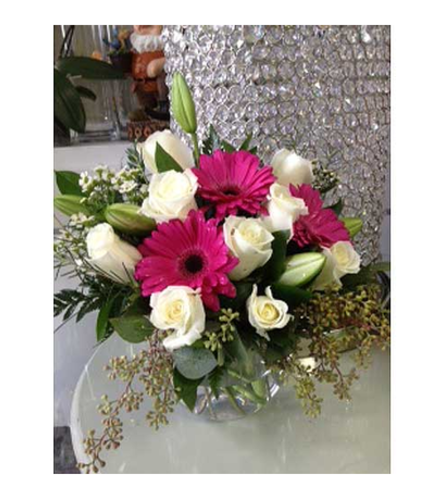 White Rose , white Lily and Pink Gerber in bubble vase by Vivian