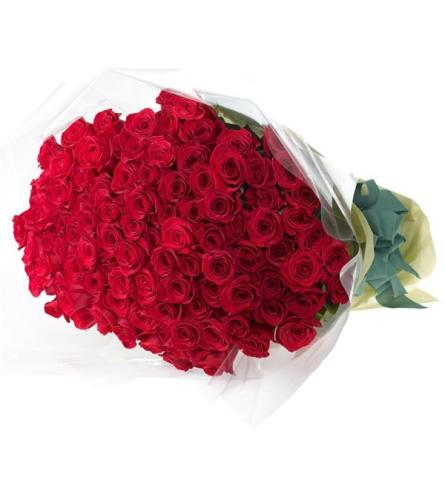 99 Luxury Red Roses Wrapped