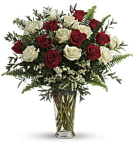 Red and White 18 Mixed Roses Bouquet