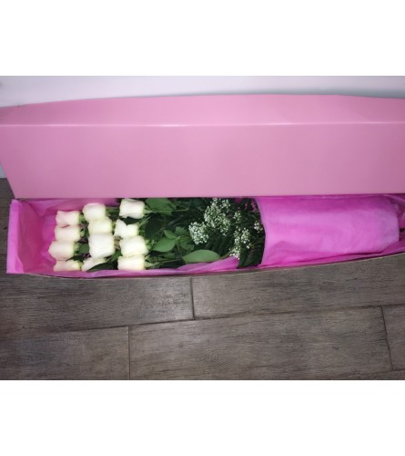 One Dozen Roses In Pink Box