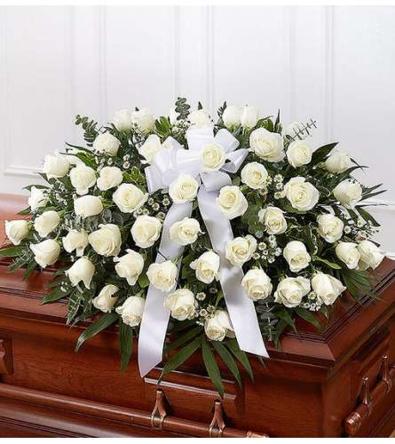 Half Casket- White Roses