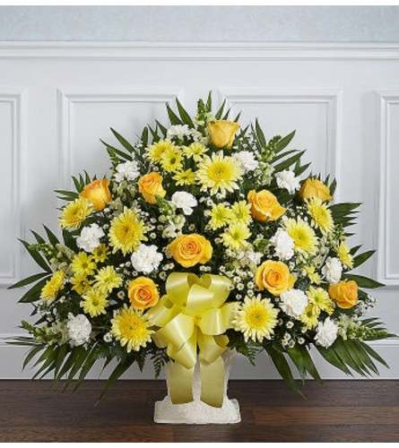 Funeral Floor Basket- Yellow