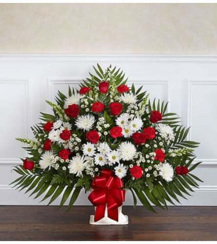 Funeral Floor Basket- Red and White