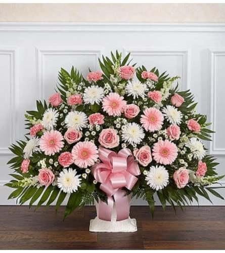 Funeral Floor Basket Pink