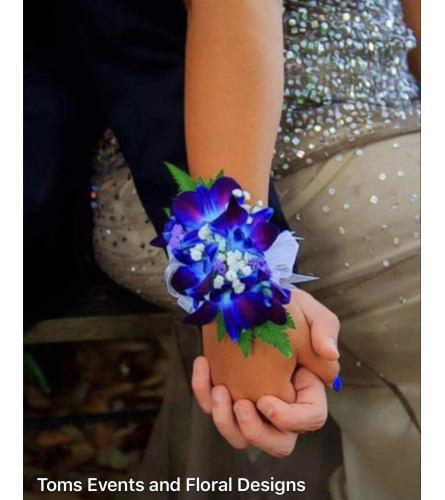 Blue Dendrobium Orchid Wrist Corsage