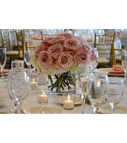 PINK ROSES & HYDRANGEA ARRANGED IN LOW VASE