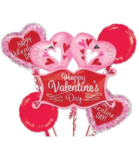 Valentine Double Heart Marquee Balloon Bouquet