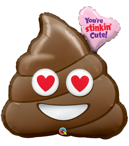"Stinking Cute Poop Emoji 31"" Foil Balloon"