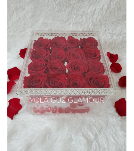 Preserved  Red Roses In Acrylic Deco