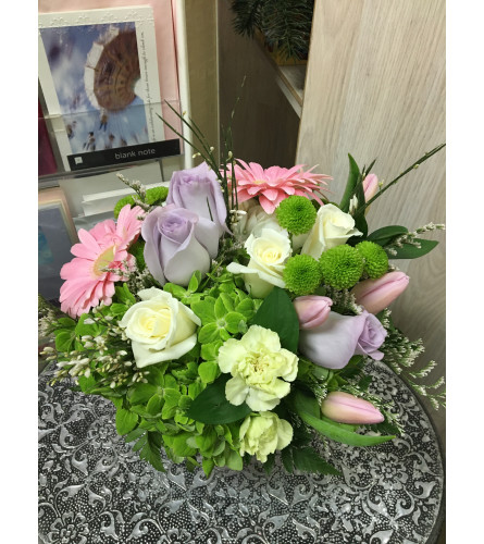 sweet lavender and pink flowers by Vivian