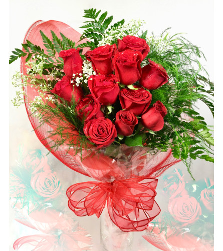 Because I Love You with 12 Red Roses Deluxe Wrap