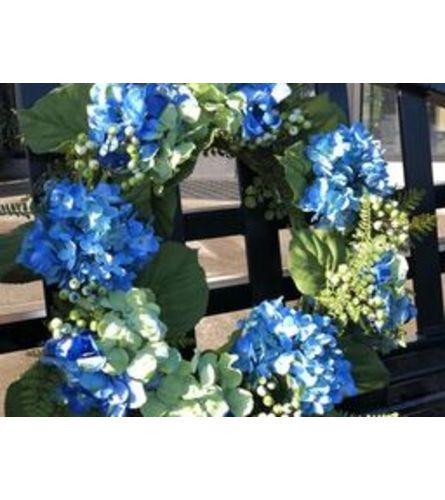 Vibrant Blue Hydrangea Wreath