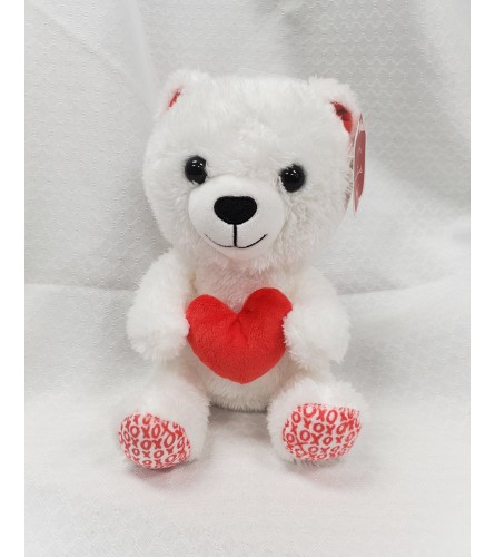 White and Red Plush Bear with Satin Heart