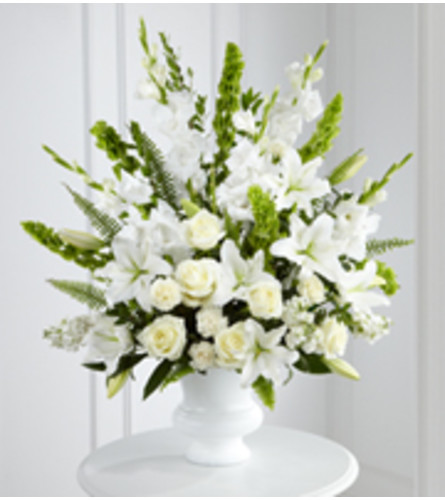 White Urn Floral Tribute