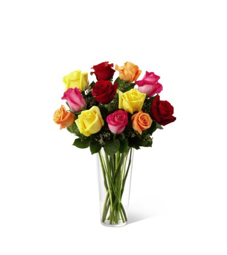 One Dozen Mixed Colored Roses in a vase