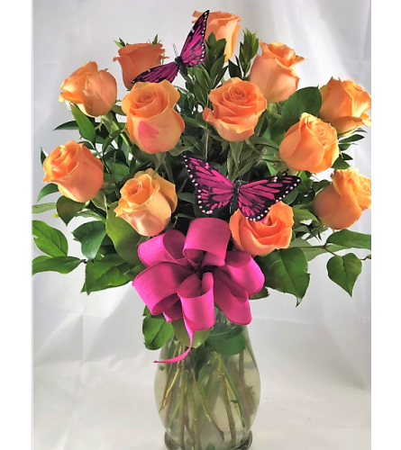 Orange Roses with Bright Pink Butterflies