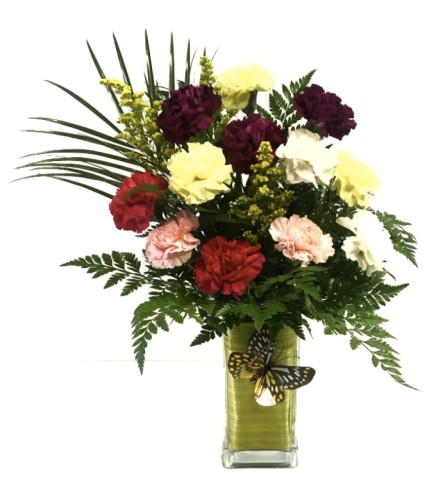 Featured Arrangement - 12 Assorted Carnations in a Vase
