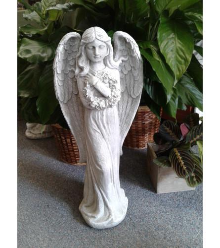 Angel Holding Wreath Memorial