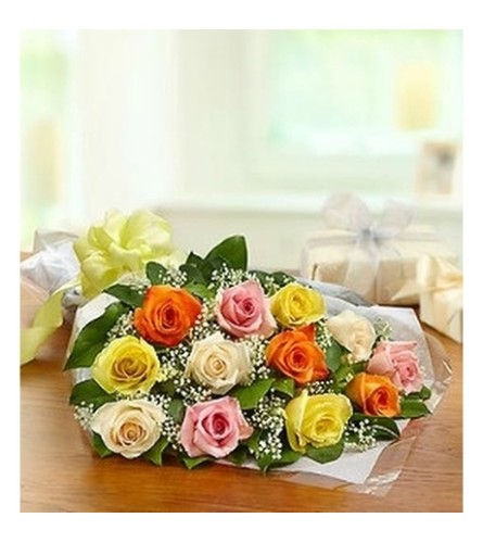 Mixed Roses - Wrapped Bouquet (No Vase)