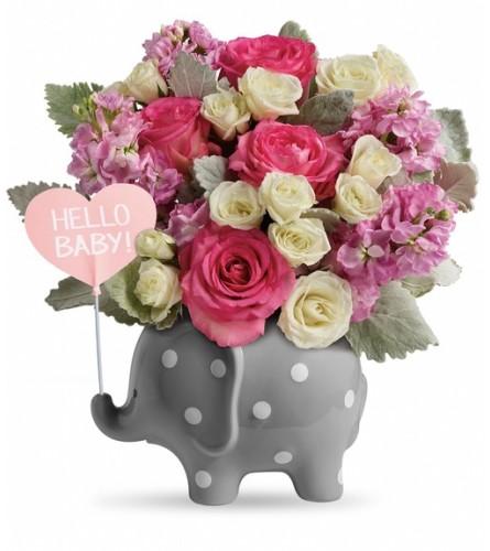 Teleflora's Hello Sweet Baby Pink Elephant