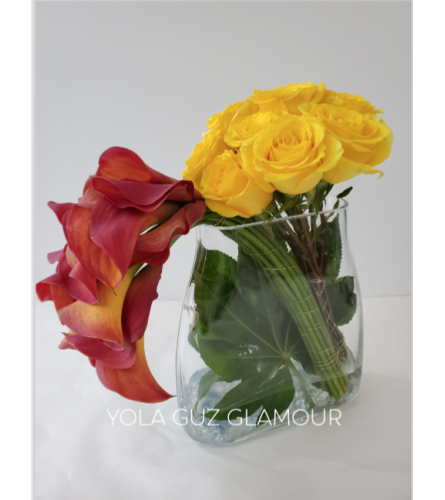 Yellow Rose And Calla Lilies