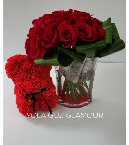 Luxurious Roses And Bear  Bouquet