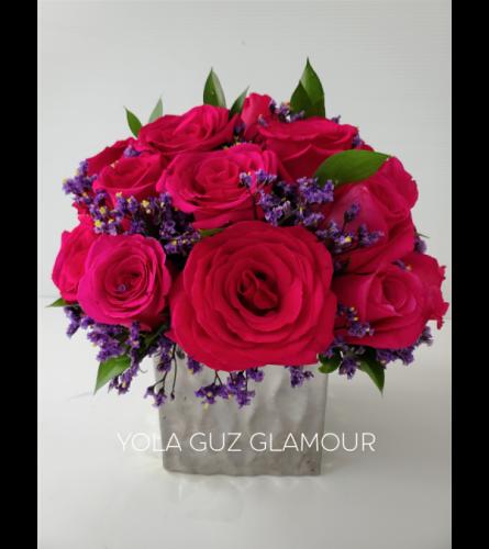 Red Roses In Ceramic cube
