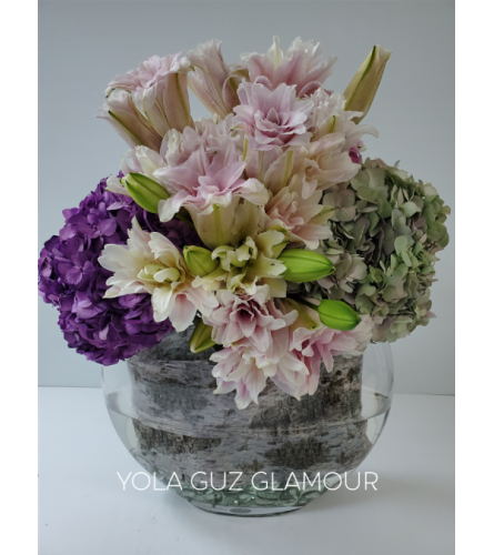 Lilies and Hydrangeas