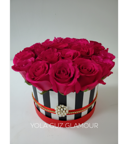 Channel Roses in Striped Couture Box