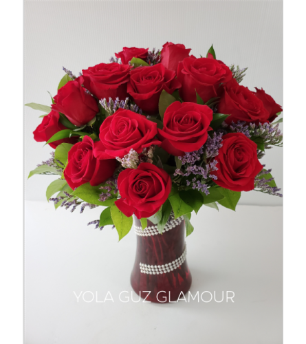 Red Roses in Red Vase