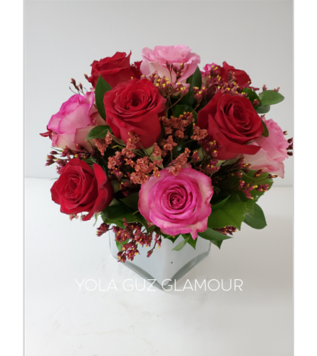 Pink And Red Roses In a Modern Cube