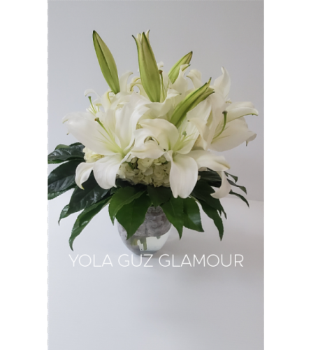 White Lilies And Hydrangeas