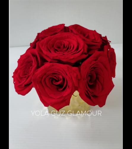 Roses in Gold Ceramic
